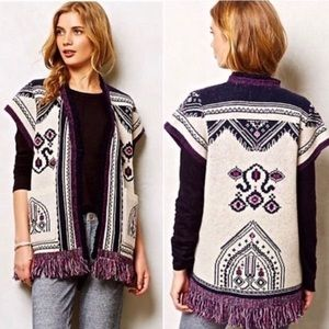 Anthropologie Lamaline Fringe Cardigan Sweater